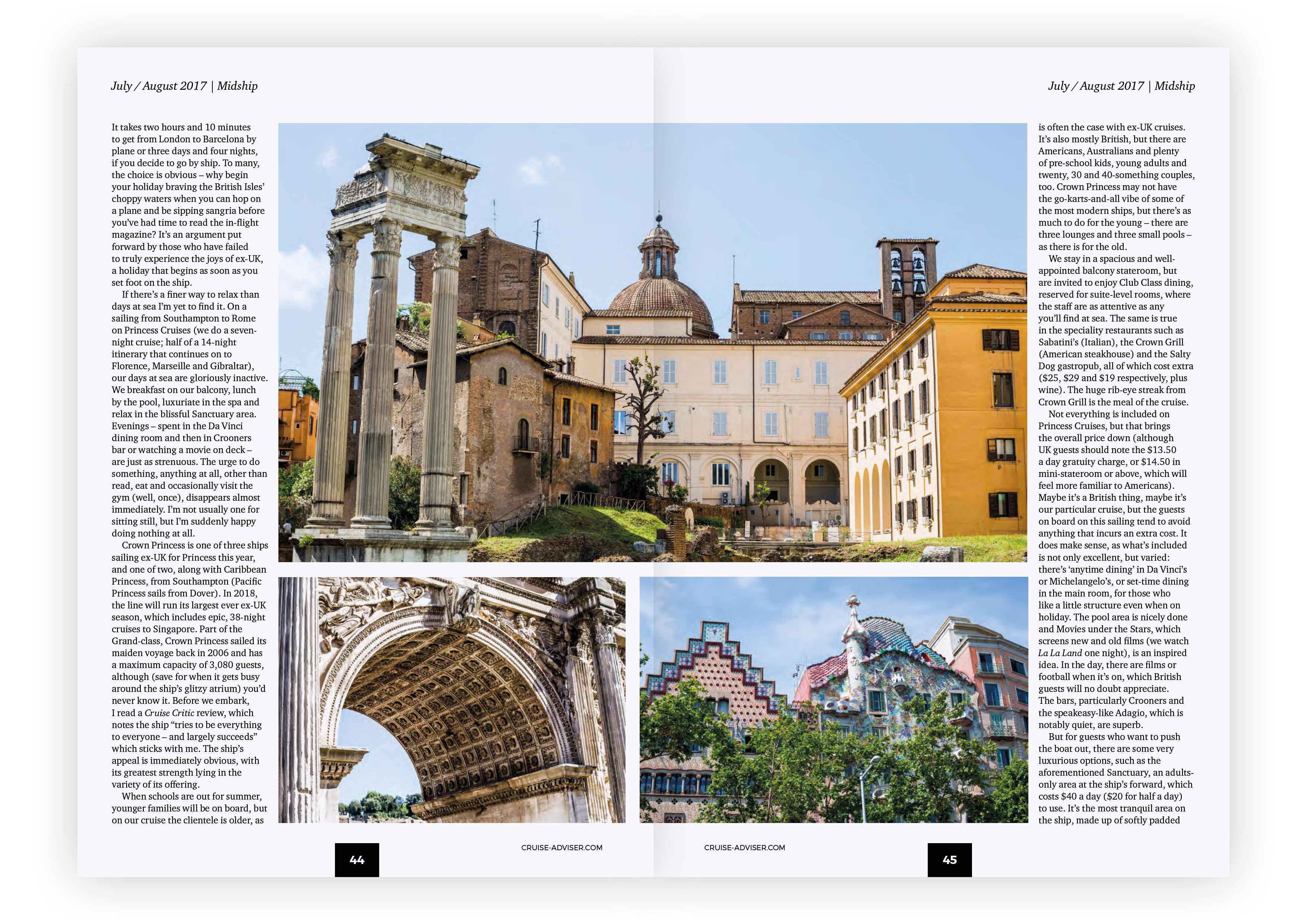 Cruise Adviser -JULY / AUGUST 2017 – Roman Holiday second spread